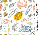 seamless pattern with seafood.... | Shutterstock .eps vector #504706957