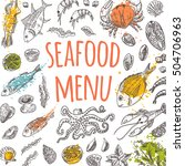 seafood menu card on the... | Shutterstock .eps vector #504706963