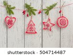 christmas toys  christmas tree  ... | Shutterstock . vector #504714487