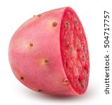 Sliced Red Opuntia Isolated On...