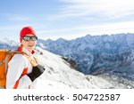 happy young girl hiking in... | Shutterstock . vector #504722587