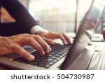 work with opened laptop and pc... | Shutterstock . vector #504730987