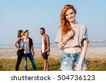 happy redhead young woman... | Shutterstock . vector #504736123
