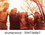 large group of children hands... | Shutterstock . vector #504736867