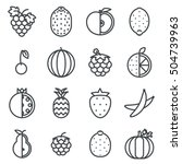 line art fruit icons set flat... | Shutterstock .eps vector #504739963