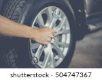 hand holding wrench. auto... | Shutterstock . vector #504747367