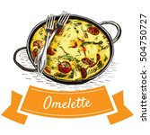 omelette colorful illustration. ... | Shutterstock .eps vector #504750727