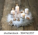 white advent wreath with... | Shutterstock . vector #504761557