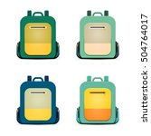 flat backpack set. vector... | Shutterstock .eps vector #504764017