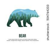 bear double exposure | Shutterstock .eps vector #504764203