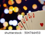 royal flush hearts poker cards...
