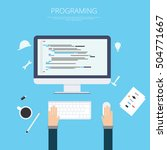 flat web development and...   Shutterstock .eps vector #504771667