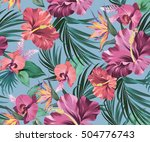 vector exotic floral pattern on ... | Shutterstock .eps vector #504776743