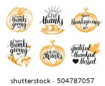 vector thanksgiving lettering... | Shutterstock .eps vector #504787057