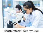 group of scientists working at... | Shutterstock . vector #504794353