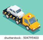 evacuation isometric car  road... | Shutterstock .eps vector #504795403