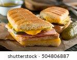 an authentic cuban sandwich on... | Shutterstock . vector #504806887
