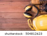safety equipment on wooden... | Shutterstock . vector #504812623