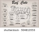 beef cow bull whole carcass...   Shutterstock .eps vector #504813553