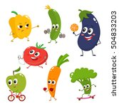 set of vegetables doing sport   ... | Shutterstock .eps vector #504833203