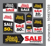 collection of black friday web... | Shutterstock .eps vector #504837103