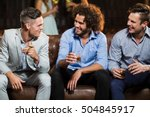 smiling friends interacting... | Shutterstock . vector #504845917