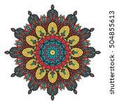 coloring mandala  invitation  t ... | Shutterstock .eps vector #504855613