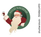 santa claus holding a glass of... | Shutterstock .eps vector #504861493