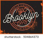 brooklyn motorcycle t shirt... | Shutterstock .eps vector #504864373