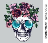 human skull with flower wreath... | Shutterstock .eps vector #504870013