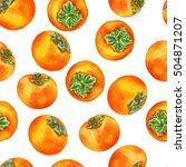 watercolor persimmon hand drawn ... | Shutterstock . vector #504871207