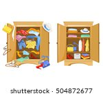 wardrobes with clothes. tidy... | Shutterstock .eps vector #504872677