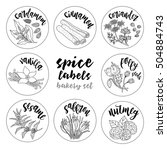 spices and herbs jar labels and ... | Shutterstock .eps vector #504884743