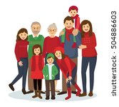 happy big family in christmas... | Shutterstock .eps vector #504886603