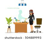 woman communicates  works and...   Shutterstock .eps vector #504889993