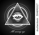 all seeing eye pyramid symbol.... | Shutterstock .eps vector #504890317