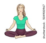 young lady meditating in lotus... | Shutterstock .eps vector #504900967