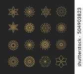 Set Of 16 Elements. Line Gold...