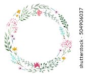 watercolor round flower wreath  ... | Shutterstock . vector #504906037