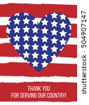 veterans day card with heart.... | Shutterstock .eps vector #504907147