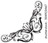 vintage baroque corner scroll... | Shutterstock .eps vector #504923467