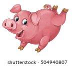 Cartoon Happy Pig Is Jumping...
