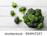 broccoli scattered on white... | Shutterstock . vector #504947257