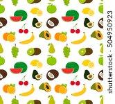 fruits seamless pattern. food... | Shutterstock .eps vector #504950923