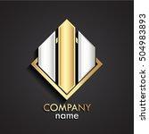3d square gold silver modern... | Shutterstock .eps vector #504983893