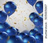 blue balloons and golden... | Shutterstock .eps vector #505005007