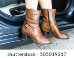a girl wearing brown leather... | Shutterstock . vector #505019317
