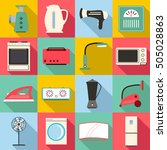 household appliances icons set. ... | Shutterstock . vector #505028863