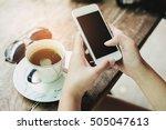 girl using smart phone in cafe. ... | Shutterstock . vector #505047613