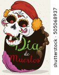 poster with happy catrina... | Shutterstock .eps vector #505068937